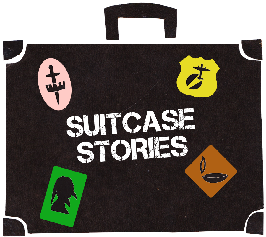 Cut-out illustration of old suitcase with Suitcase Stories stencil and stickers
