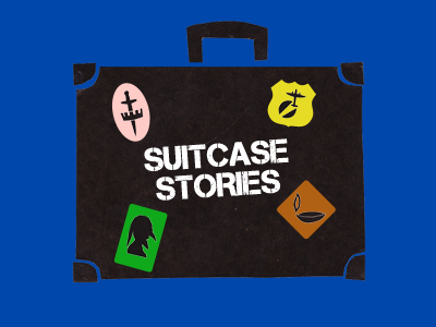 Cutout graphic of old suitcase with four stickers