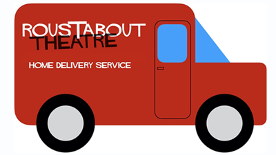 Cartoon van labelled Roustabout Theatre Home Delivery Service