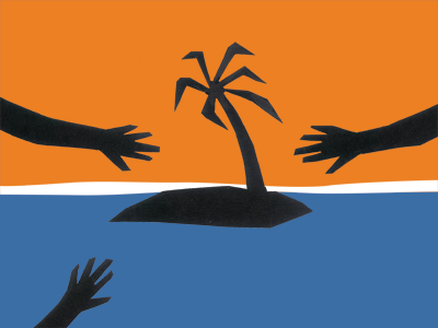 This Island's Mine poster: three hands reaching across sea to desert island