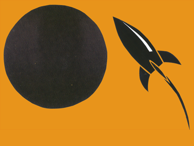 Detail from Luna poster: rocket heading towards the moon