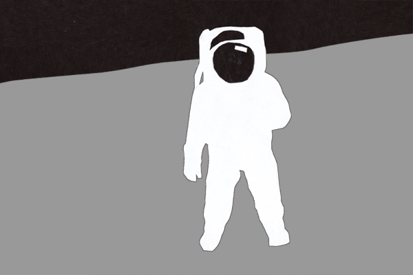 Cutout graphic of Astronaut Neil Armstrong on the moon