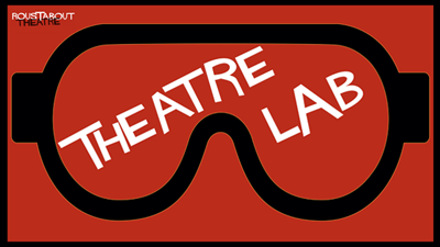 Cartoon science safety goggles labelled Theatre Lab