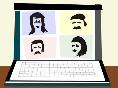 Cutout graphic showing four-person Zoom meeting on laptop