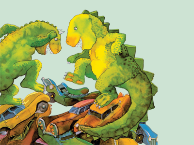 Illustration of dinosaurs crushing carsfrom Michael Foreman's book: Dinosaurs and all that Rubbish